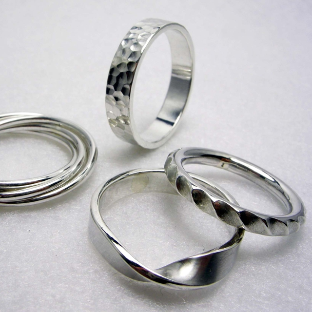 Silver rings from the jewellery making classes with Yuki Kokai