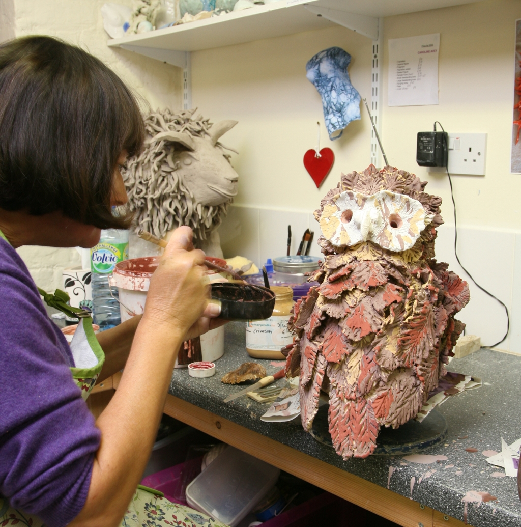 Angelika clay owl sculpture class