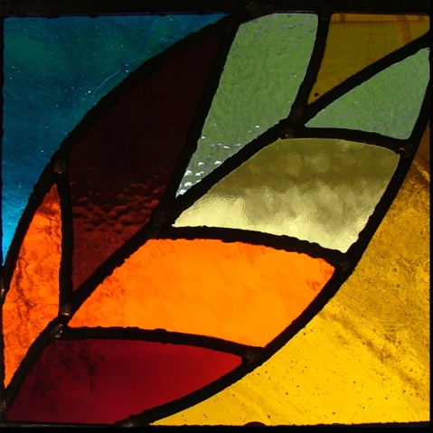 Jon Lewis stained glass leaf